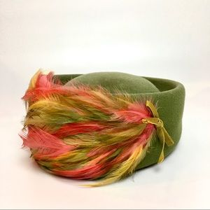 Vintage Pillbox Feathered Hat Army Green